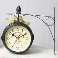 Vintage Decorative Double Sided Metal Wall Clock Antique Style Station Wall Clock Wall Hanging Clock Metal Frame and Glass Clock|Wall Clocks|   -
