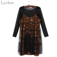 Lychee Sexy Spring Summer Women Dress See Through Mesh Pleated Floral Print Strap Dress 2 Pieces