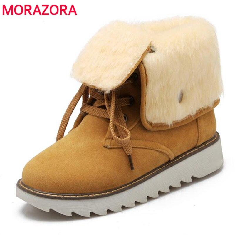 2c9d468f Morazora más tamaño 34-43 nieve botas de plataforma zapatos de mujer botas  de tobillo LACE-up flock caliente del invierno cómodo
