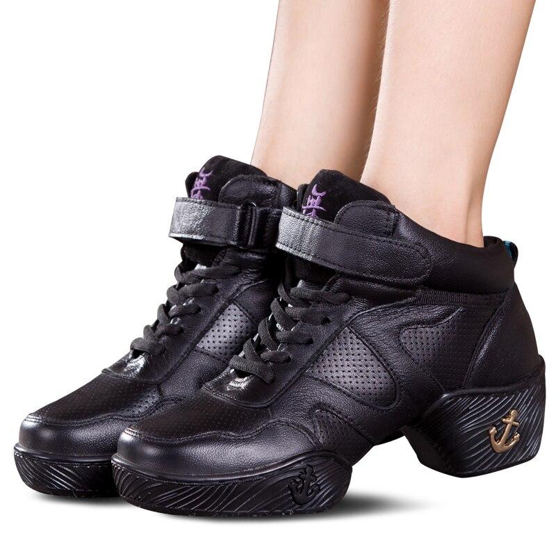 Gracieuse 2018 printemps chaussures de danse en cuir femme à semelle souple adulte carré chaussures de danse haute Jazz Marines chaussures de danse