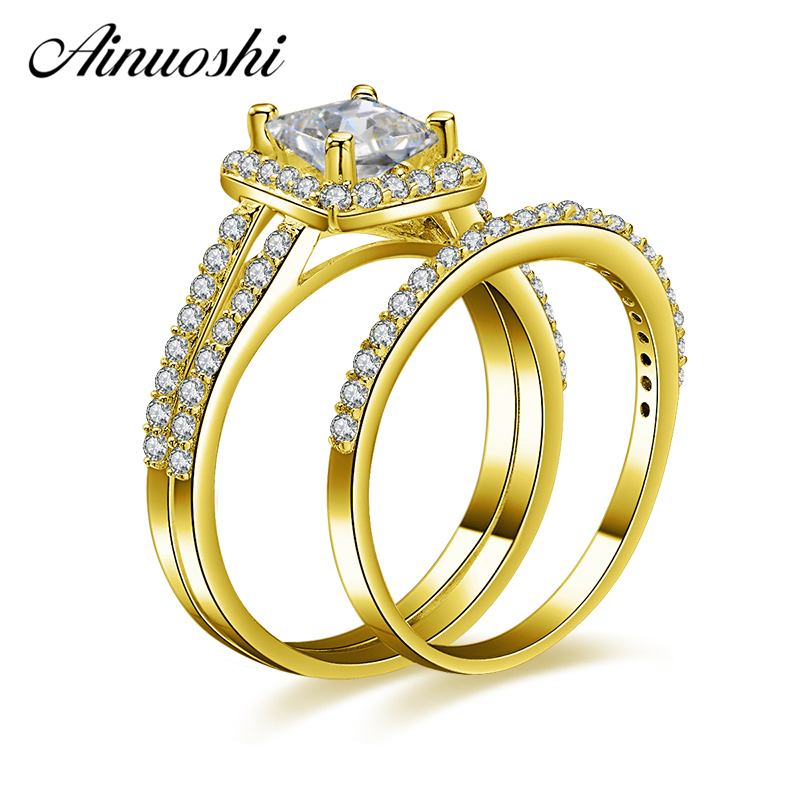 AINUOSHI 10k Solid Yellow Gold Square Ring Set 1 Carat Princess Cut Simulated Diamond Jewelry Woman Wedding Engagement Ring Set