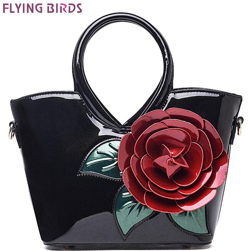 Prix pour FLYING BIRDS! femmes sac à main élégant femmes en cuir sacs à main rétro sacs à bandoulière bolsas célèbre marques sac de fleur femmes LM3027fb