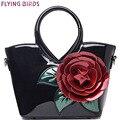 PÁJAROS de VUELO! bolso de las mujeres elegantes de los bolsos de cuero de las mujeres retro bolsa de hombro bolsas de marcas famosas mujeres de la flor LM3027fb