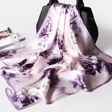 100% Pure Silk Square Neck Scarf for Women Print Real Silk Hair Scarf for Ladies Bandana Ladies Natural Silk Headscarf Kerchief