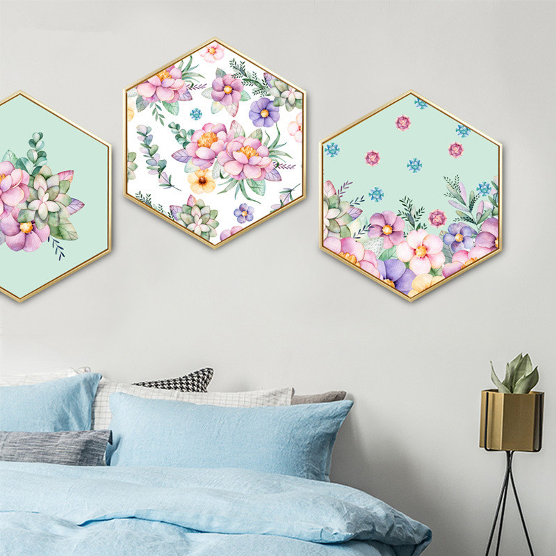 Nordic style Decorative paintings Hexagon mural with frame Creative Simple and modern Bedroom decoration unicorn paintings in Painting Calligraphy from Home Garden