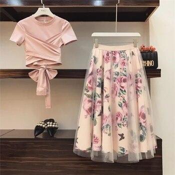 Doux femmes imprimer Rose ensemble 2019 printemps été mode Bandage croix coton Blouses hauts et Long Midi a-ligne jupes costume