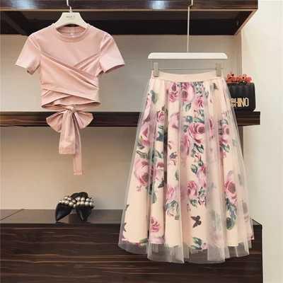 Dulce mujer estampado Rosa Set 2019 Primavera Verano moda vendaje Cruz algodón blusas Tops y largo Midi A-line faldas traje