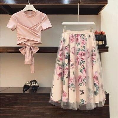 Mulheres doce Impressão Rosa Set 2019 Primavera Verão Moda Bandage Cruz Blusas de Algodão Tops e Midi Longo A Linha Saias Terno