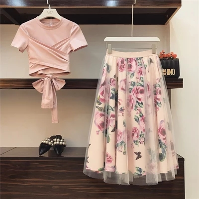 Sweet Women Print Rose Set 2019 Spring Summer Fashion Bandage Cross Cotton Blouses Tops And Long Midi A-line Skirts Suit