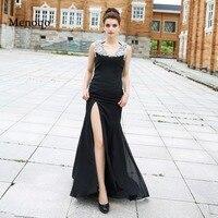 Real Picture Prom Dresses 2016 Mermaid Side Split Chiffon Beaded Black Sleeveless V Neck Occasion Formal