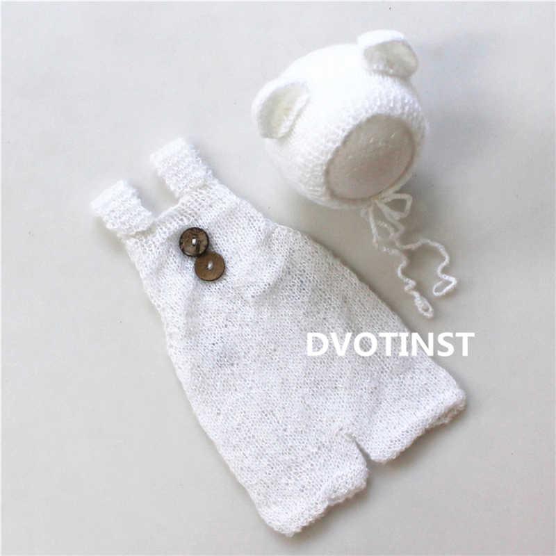 Dvotinst новорожденных реквизит для фотосъемки крючком вязаный ангорковый головной убор + комплект одежды Fotografia младенческой студии съемки фото душ подарок