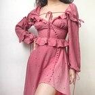 Retro V-neck Wave Point Strapless Irregular Long-sleeved Dress Vestidos Verano 2018 Gothic Maxi Dresses for Women Plus Size
