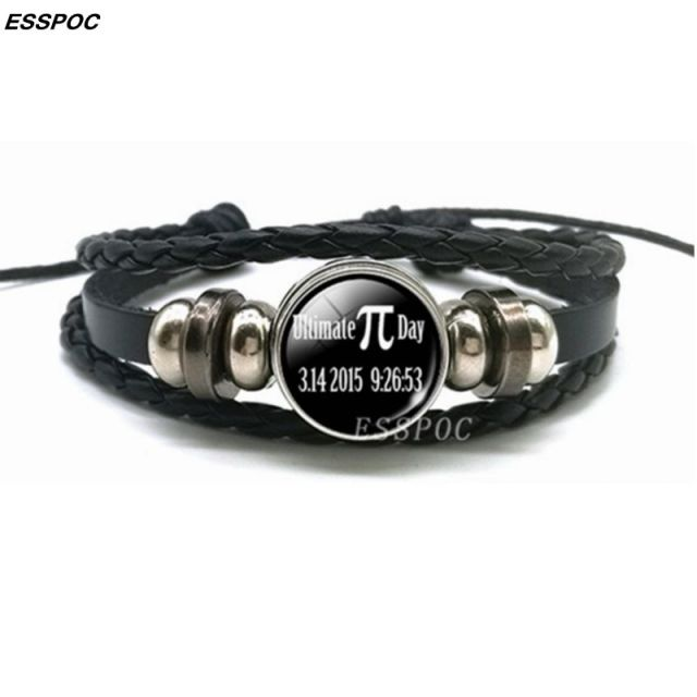 Creative Pi Bracelet Symbol For Pi Glass Dome Black Leather Braided