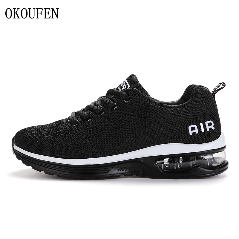 OKOUFEN Sport Running Shoes Men Sneakers Couples Sport Shoes Woman Athletic Outdoor Comfortable Breathable Trainer Shoes For Men dr eagle mens running shoes for outdoor comfortable red black fly for men sneakers air cushioning sport shoes woman size 35 44