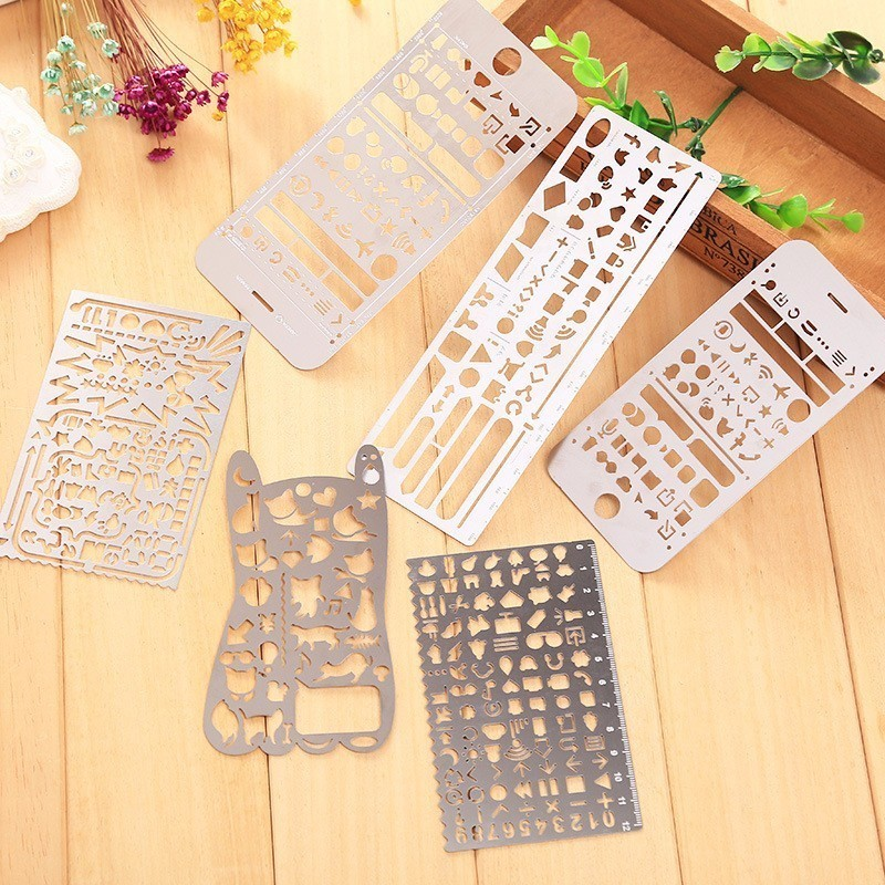 Cute Phone Hollow Metal Ruler Craft Dies Graffiti Drawing Template Ruler Scrapbooking Dies Metal Spellbinders