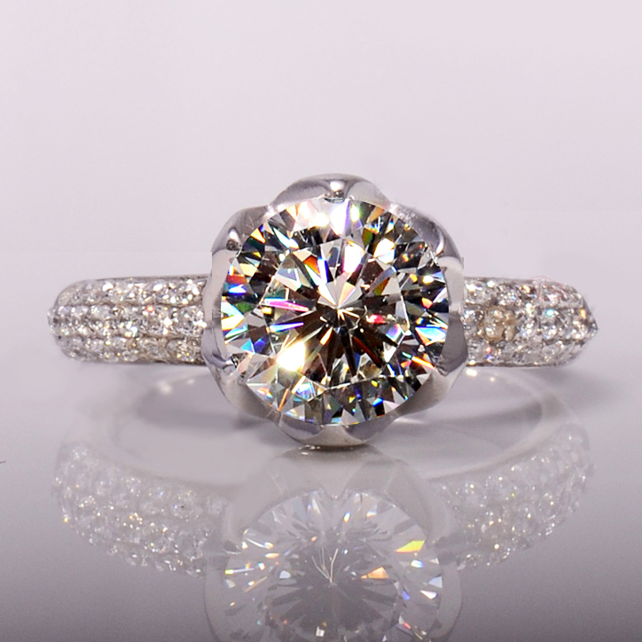 Carat Flower Shaped Simulated Diamond Wedding Rings Women Ring