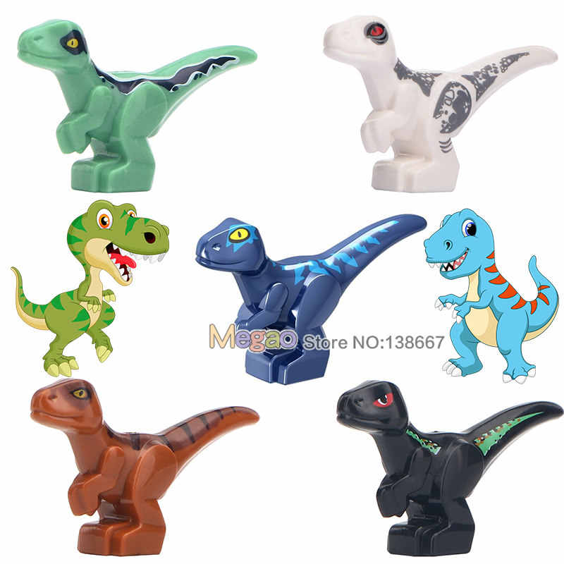 Single Sale Jurassic World  Building Blocks Velociraptor Tyrannosaurs Rex Pterosauria Baby Dinosaurs Park Toys for Kids