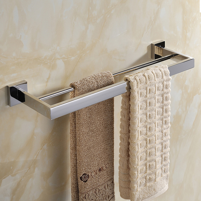 Contemporary Bathroom Stainless Steel Modern Fashion Pure Towel Rack 60cm Length Double Bar