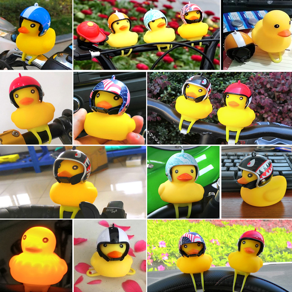 Купить с кэшбэком WorthWhile Bicycle Duck Bell with Light Broken Wind  Small Yellow Duck MTB Road Bike Motor Helmet Riding Cycling Accessories