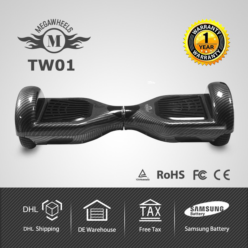Free Shipping 6.5 Megawheels TW01 Samsung Battery Hoverboard Electric Scooter with Free Tax and 1 Year Warranty certificated hoverboard tw01 self balance scooter 2 wheels built nn samsung battery with charger megawheels