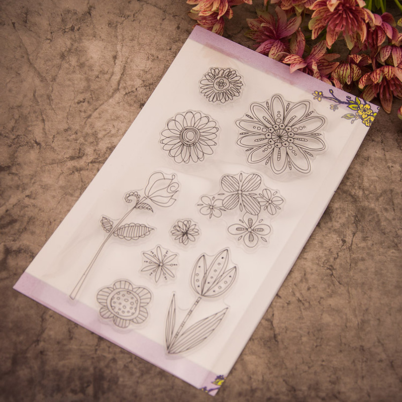 Flowers of spring design Scrapbooking Stamp transparent silicone seal clear stamp for children gift T0158 free shipping
