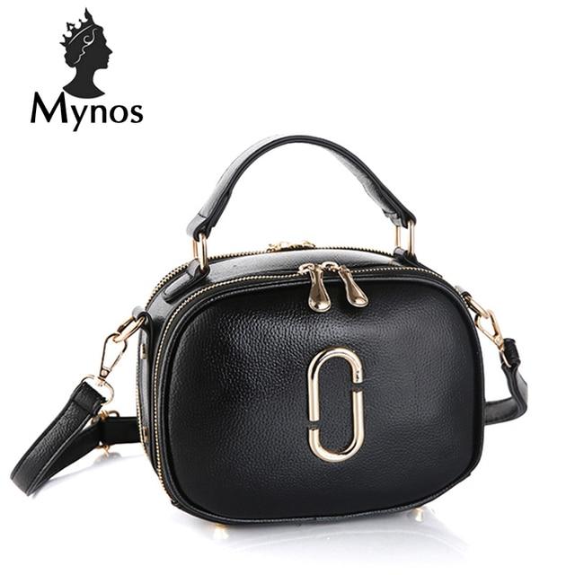 6b9051651474 US $43.31  MYNOS New Brand Designer Leather Handbags Small Women Messenger  Bag Solid Double Zipper Crossbody Bag For Women SAC A MAIN Femme-in ...