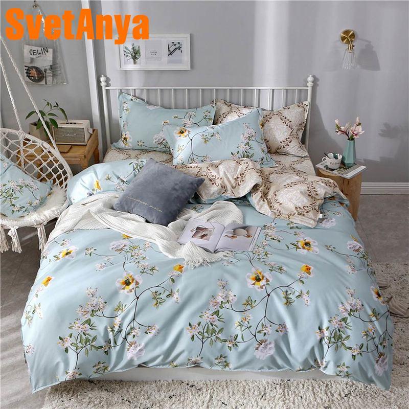 Svetanya 2019 pas cher literie Floral ensemble de literie simple Double pleine taille (couverture Duver + drap plat + taie d'oreiller)