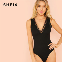SHEIN Black Lace Trim Form Plunging Neck Fitting Bodysuit Sexy Deep V Neck  Sleeveless Bodysuit Women Summer Skinny Bodysuit f94cf14bd