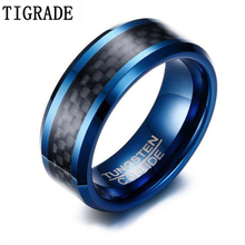 Tigrade Blue Tungsten Rings For Men 8mm Black Plaid Jewelry Classical Cool Finger Ring Never Fade Male Wedding Anels