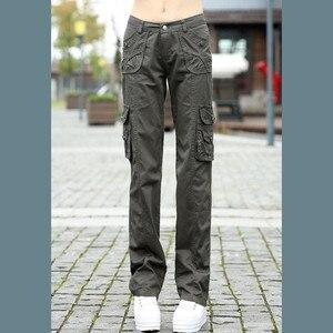 Image 4 - Женские брюки 2020, женские тренировочные хлопковые брюки карго в стиле милитари, женские прямые брюки с несколькими карманами