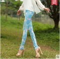 Free shopping!!Flower trousers for women 2015 autumn/winter leisure wear leggings bigger sizes printed outside foot pencil pants