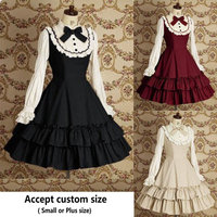 Free shipping Women Summer Dress Maid Cosplay Lolita Dress Retro Lace Daily Dress Medieval Gothic Dress for girl