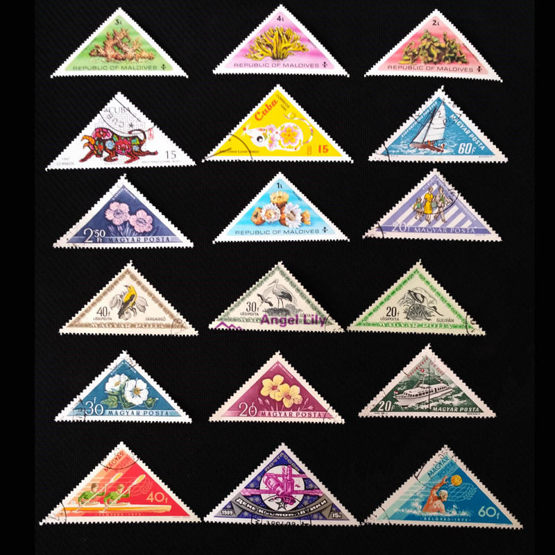 50 Pcs/lot Triangle Postage Stamps Good Condition Unused With Post Mark From  The World Stamp Collecting Estampillas De Correo
