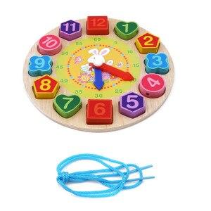 Image 5 - Per bambini In Legno Giocattoli di Puzzle Di Tangram Cognitivo Digitale Orologio Digitale Della Vigilanza di Legno Puzzle Giocattoli Educativi Del Fumetto Threading Giocattoli di Montaggio
