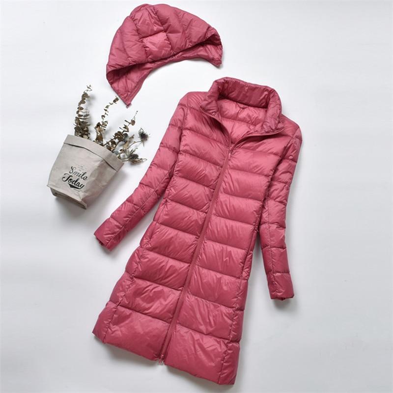 2018 Women Duck Downs Jacket Parkas Autumn Winter Midi Long Down Coat Ladies Ultra Light Outerwear