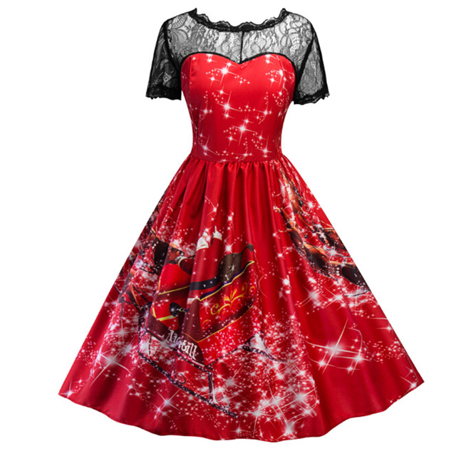Women Vintage Dresses 50s 60s Robe Rockabilly Clothes Lace Short Sleeve Plus Size Retro Swing Summer Elegant Dress Vestidos