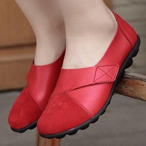 Image 5 - Vrouw Flats Schoenen Zacht Echt Leer Grote Maat 41 44 Patchwork Suède Bootschoenen Voor Vrouwen Haak Lus massage