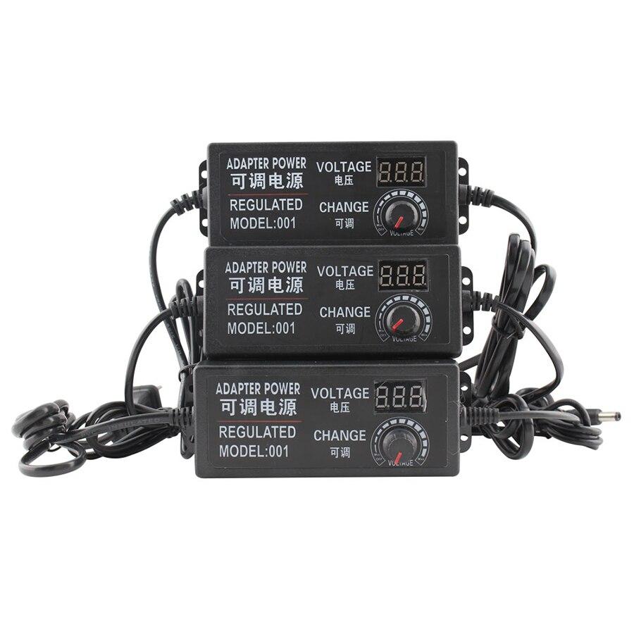 Universal Ajustável adaptador de energia AC para DC 3 V-12 V 3 V-24 V 9 V- 24 V screen display tensão Regulada de alimentação adatpor 3 12 24 v