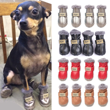 Winter Snow Boots Fashion Dogs Leather Dog Shoes 4 Pcs/set For Chihuahua Waterproof Anti Slip Pet Shoes For Small Dogs 5 Sizes