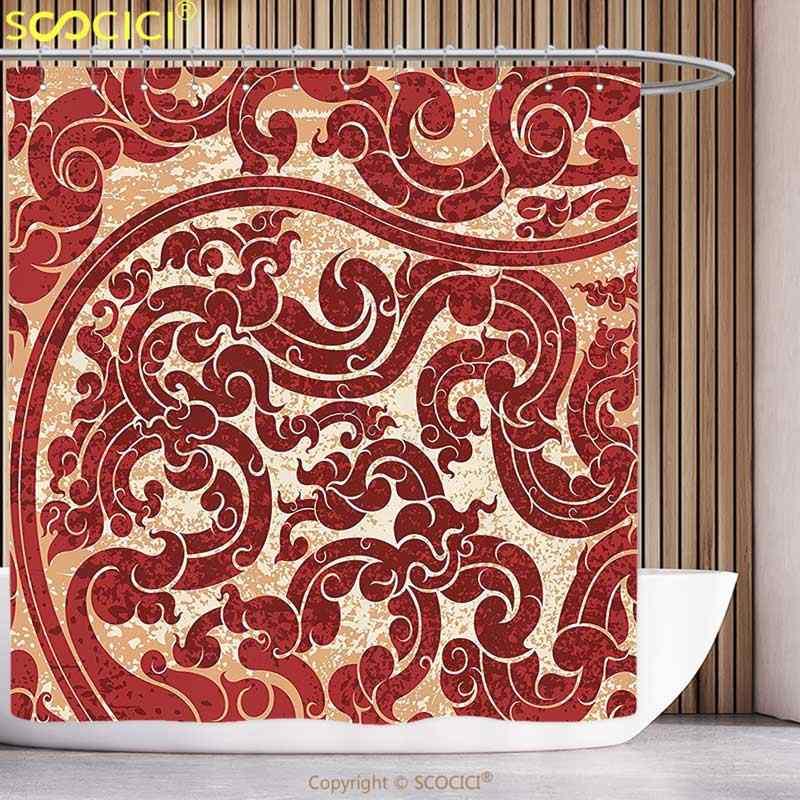 Stylowe zasłona prysznicowa antyczny wystrój tajskiej kultury wektor streszczenie tło kwiat wzór tapety projektowania druku burgundii