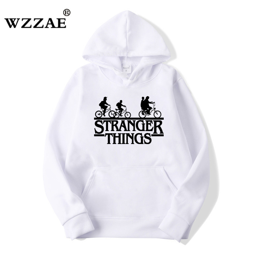 2019 Trendy Faces Stranger Things Hooded Mens Hoodies and Sweatshirts Oversized for Autumn with Hip Hop Winter Hoodies Men Brand 2