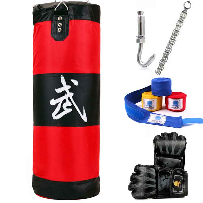 100cm Boxing Punching Bag Fitness Sandbags Striking Drop Hollow Empty Sand Bag With Chain Martial Art Training Punch Target