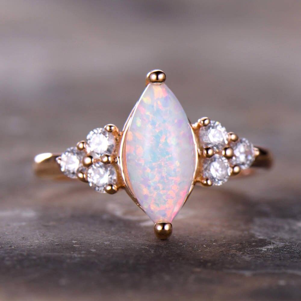 Austrialian opale de feu Marquise forme 5*10mm 100% bague en pierres précieuses naturelles avec Moissanite en or Rose 14k avec boîte-cadeau