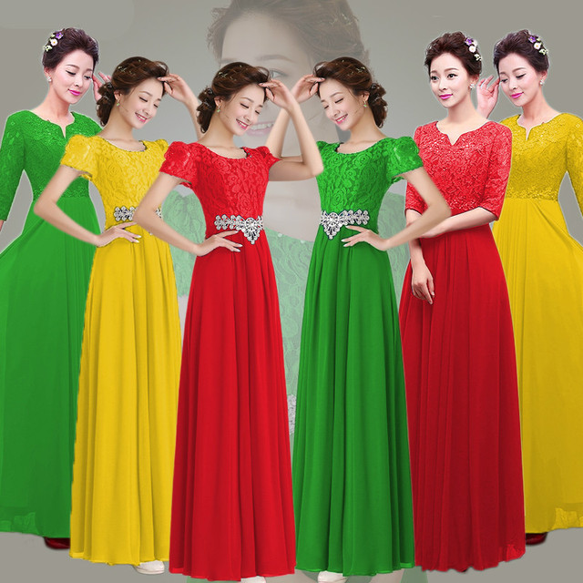 Green Yellow Red Wedding Party Dress Bride Guests Group Chorus Performance Bridesmaid  Dress Sw1853 Size 2 to Size 16 97692b137556