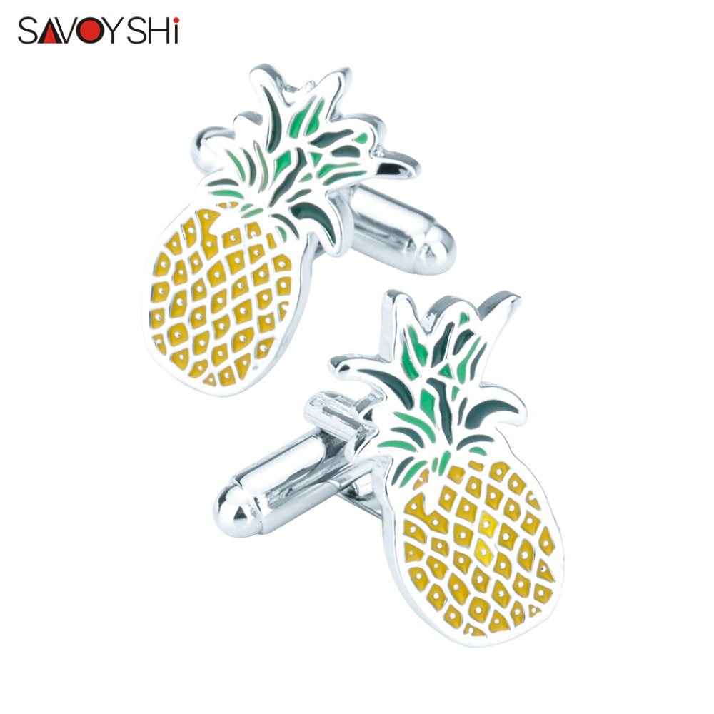 SAVOYSHI Pineapple Cufflinks for Mens High Quality Enamel Novel Fruit CuffLink Brand Jewelry Lawyer Gift Gemelos