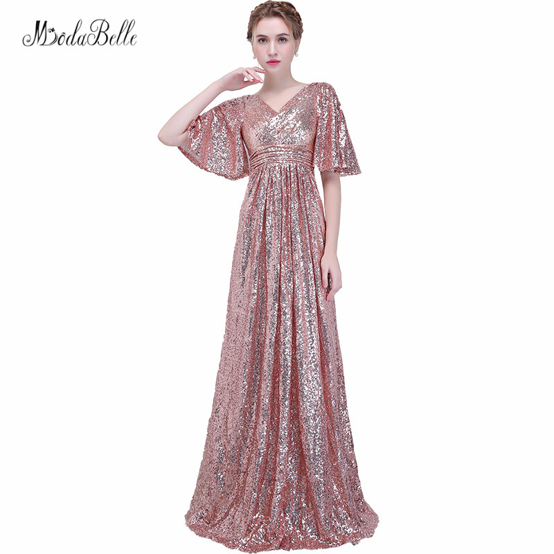 88de9ae35c42 modabelle Rose Gold Bridesmaid Dress Sukienki Druhna Navy Blue Sequins  V-neck Women Elegant Dresses For Weddings Robe De Soiree