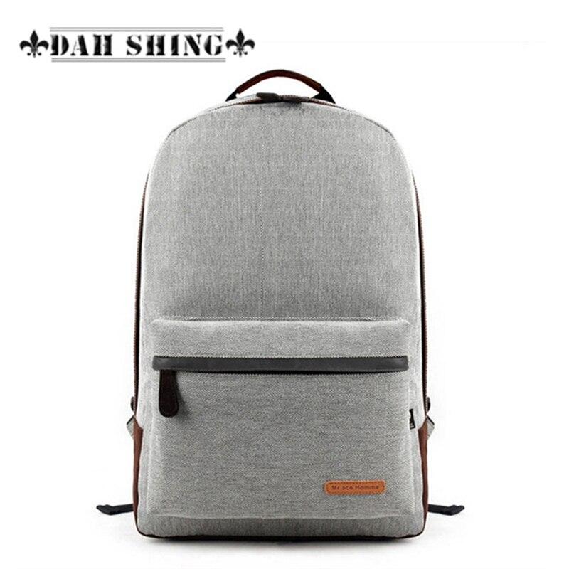 """Nuovo 2017 semplici sacchetti di scuola di lino 7 colori solidi zaino da viaggio da uomo borse da 43 * 30 cm per laptop da 14 """""""