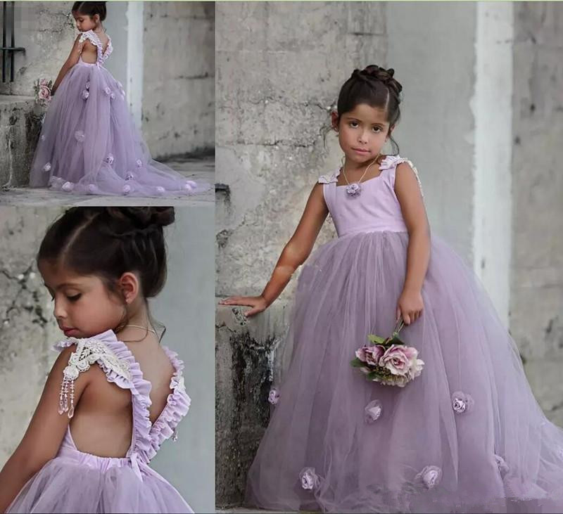 Lavender 2019   Flower     Girl     Dresses   For Weddings Ball Gown Tank Tulle   Flowers   Long First Communion   Dresses   For Little   Girls