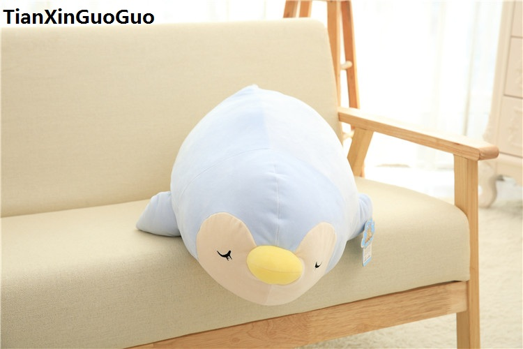 Large 70cm Blue Cartoon Penguin Plush Toy Down Cotton Penguin Very Soft Doll Throw Pillow Birthday Gift S0624 Stuffed & Plush Animals Dolls & Stuffed Toys