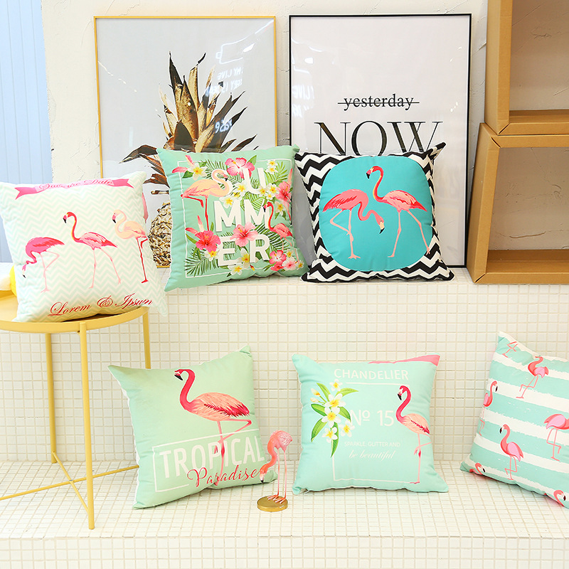Cute Flamingo Cushion Pillow Case Flamingo Party Bedroom Sofa Home Decoration accessories Birthday/Wedding Favors and Gifts 4